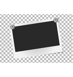 Realistic photo frame on metal rivets template vector