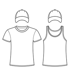 T-shirt singlet and caps template vector