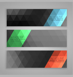 Abstract dark set of three web banners vector