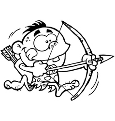 Neanderthal kid with bow and arrow vector