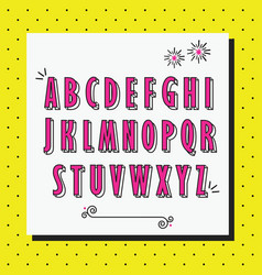 Pink cute and girlie capital alphabet letters set vector
