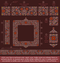 Flower decorative ornaments building kit - red vector