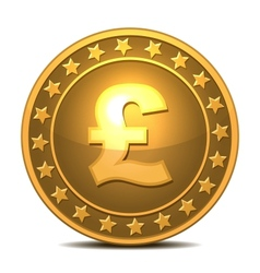 Gold coin with pound sterling sign vector