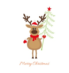 Christmas reindeer with christmas tree vector