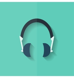 Headphones icon musical accessory flat design vector