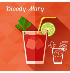 With glass of bloody mary in flat design style vector