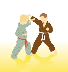 Two boys are engaged in karate vector