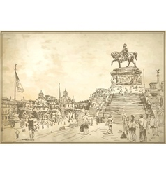 Drawing of rome italy famous cityscape on old vector