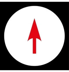 Arrow axis y flat red and white colors round vector