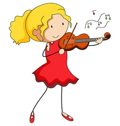 Girl in red dress playing violin vector