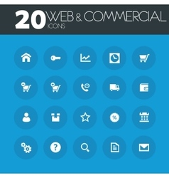 Web and commercial icons on round blue buttons vector