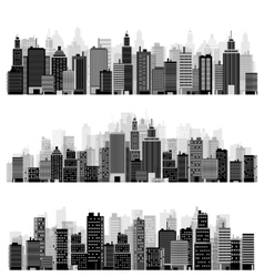 Set of city silhouettes vector