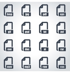 Black file format icon set vector