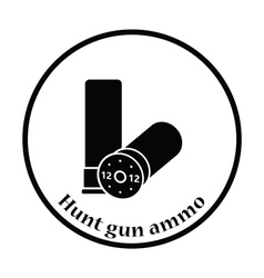 Hunt gun ammo icon vector