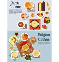 Worldwide popular dishes of swiss belgian cuisine vector