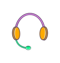Headphones with microphone icon cartoon style vector