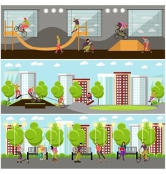 Set of people on bicycle skateboard vector