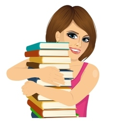 Attractive woman hugging stack of books happily vector