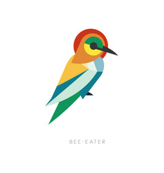 Beautiful silhouette of bee-eater composed from vector