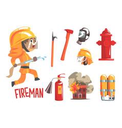 Boy fireman kids future dream fire fighter vector
