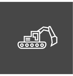 Bulldozer excavator in a linear style flat vector
