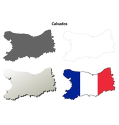 Calvados lower normandy outline map set vector