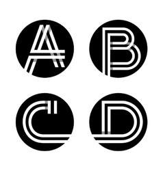 Capital letters a b c d in a black circle vector