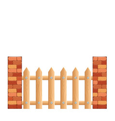 Cartoon rural wooden fence vector