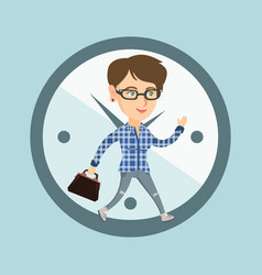 Caucasian employee running on clock background vector