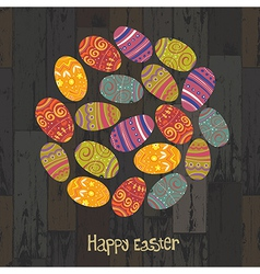circle shaped easter eggs on wooden texture vector image vector image