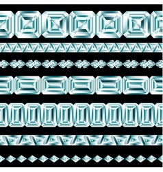 Diamond borders set on black background vector