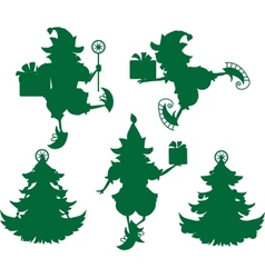 Elves Silhouettes vector image vector image