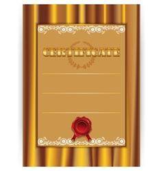 gold certificate with a textile background vector image vector image