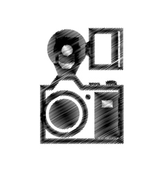 Hand drawing camera photographic with flash vector