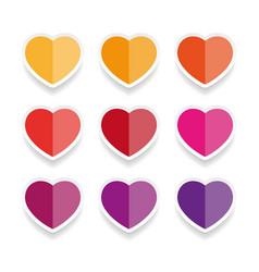 heart label sticker set vector image vector image