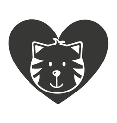 heart love pet mascot isolated icon vector image vector image