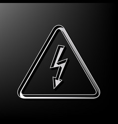 High voltage danger sign gray 3d printed vector