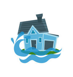 house sinking in a water property insurance vector image