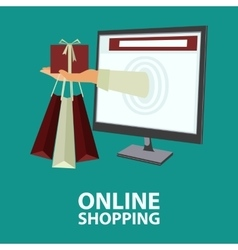 Internet shopping concept in flat style vector image vector image