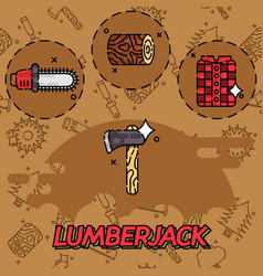 Lumberjack flat concept icons vector