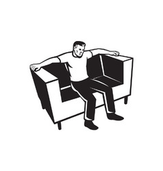 Man sitting on couch chair vector