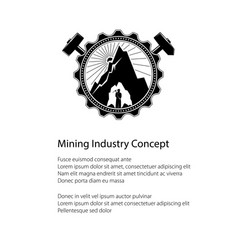 miner in the bowels of the mountain poster vector image vector image