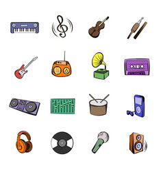 music black icons set cartoon vector image