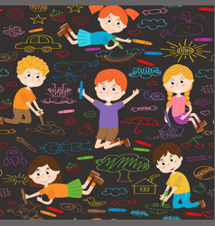 Seamless pattern with child art on asphalt vector