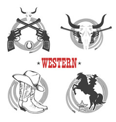 set of cowboy symbols and labels vector image vector image