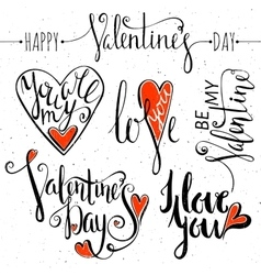 Set of lettering for Valentines Day vector image vector image