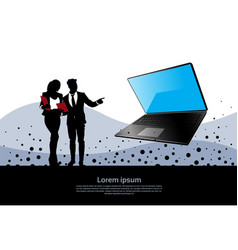 Silhouette business man and woman point hand to vector