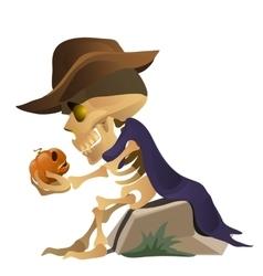 Skeleton in hat is talking with pumpkin vector image vector image