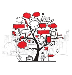 Sketch of tree with arrows and frames cityscape vector image