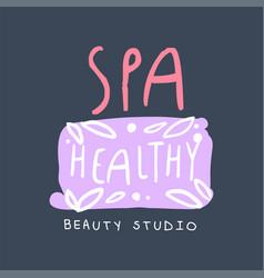 spa healthy and beauty studio logo design badge vector image vector image